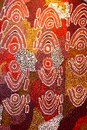 Part of an abstract and ancient aboriginal artwork australia with painted dots Royalty Free Stock Photography