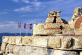 Part of ancient city wall in the city of Nesebar in Bulgaria Royalty Free Stock Photo