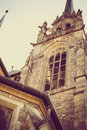 Part of an ancient gothic catholic church in Chech Republic Brno with vintage treatment Royalty Free Stock Photo