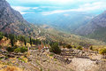 Part of ancient theater and ruins in in delphi gree after the rain greece Royalty Free Stock Photography