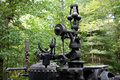 Part of an antique mobile steam powered engine close up a centrifugal speed control valve for old coal fed saw mill from pioneer Stock Photo