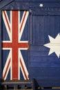 Part of the Australian flag on a beach hut Royalty Free Stock Photo