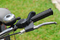 Part of a bicycle the handle and the brakes mechanism Royalty Free Stock Photos