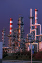 Part of a big oil refinery at night Royalty Free Stock Photo