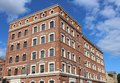 Part of cleaned red brick office block building Royalty Free Stock Photo
