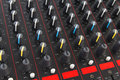 Part of control an audio sound mixer photo Stock Photography
