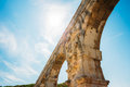 Part detail of famous landmark ancient old Roman aqueduct of Pont Royalty Free Stock Photo