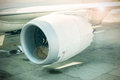 Part of engine air plane with fan inside. Royalty Free Stock Photo