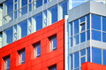 Part of the facade modern building with red and blue Royalty Free Stock Photo