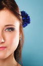 Part of face beautiful girl in summer style Royalty Free Stock Photo