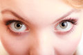 Part of face female eyes. Blonde girl wide eyed. Royalty Free Stock Photo