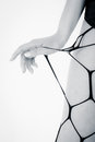 Part female body pantyhose isolated white Royalty Free Stock Photography