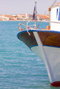 Part of a fishing boat closeup in greek island Stock Image