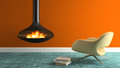Part of interior with fireplace and modern armchair 3D rendering Royalty Free Stock Photo