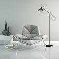 Part of interior with modern grey armchair 3D rendering 2 Royalty Free Stock Photo