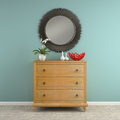 Part of interior with stylish commode d rendering Stock Photos
