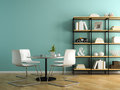 Part of interior with white chairs and shelving 3D rendering Royalty Free Stock Photo