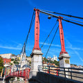 Part of lyon city with red footbridge on saone river Stock Image