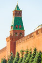 Part of the moscow kremlin wall and tower Stock Photography