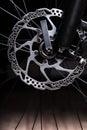 Part of mountain bike brake dis close up Royalty Free Stock Images