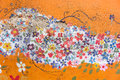 Part of old flower flora mural painting pattern art on a messy c