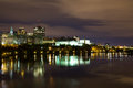 Part of the Ottawa Skyline at Night Royalty Free Stock Photo