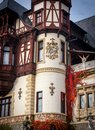 Part of the Peles Castle museum. Exterior wall detail Royalty Free Stock Photo