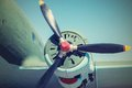 Part plane with the propeller in retro tones Royalty Free Stock Photo