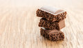 Part porous chocolate close-up Royalty Free Stock Photo