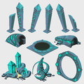 Part of portal elements from sci fi series with runes game Royalty Free Stock Images