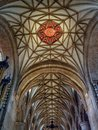 Red Sun emblem, Quire ceiling, Tewkesbury Abbey, Gloucestershire, England. Royalty Free Stock Photo