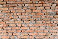Part of the red brick walls of the old building. Sharp and contrast with stronger shadows top of the photo Royalty Free Stock Photo