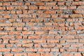 Part of the red brick walls of the old building. Sharp and contrast with stronger shadows top of the photo. Royalty Free Stock Photo
