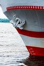 Part of the ship with an anchor and a waterline Royalty Free Stock Photo