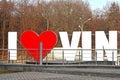 The part of sign I LOVE VINNYTSIA in the centre of the city, Vinnytsia