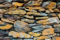 Part of stone wall at Gergeti trinity church or Tsminda Sameba, Georgia. Royalty Free Stock Photo