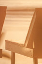 Part of sunbed at sea closeup wood on the beach Royalty Free Stock Photo
