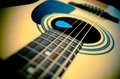 Part of traditional acoustic guitar Royalty Free Stock Image