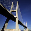 Part vasco da gama bridge lisbon view below Stock Image