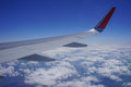 Part of the wing of a plane high in the blue sky Royalty Free Stock Photo