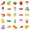 Partake icons set, cartoon style Royalty Free Stock Photo