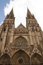 Parte anteriore della cattedrale Notre Dame de Bayeux, Francia Fotografia Stock