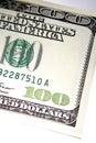 Parte della fattura del dollaro degli Stati Uniti 100 Fotografie Stock