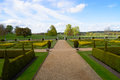 Parterre garden overlooking wimpole gothic tower Royalty Free Stock Photography