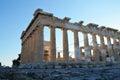 Parthenon in athens acropolis side view Royalty Free Stock Photo