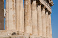 Parthenon columns doric of the in athens greece Royalty Free Stock Photo