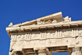 Parthenon detail of the top in the at acropolis athens greece Stock Images