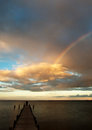 Partial rainbow over the sea at evening Royalty Free Stock Photo