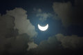 Partial solar eclipse with cloudy sky Stock Images