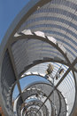 Partial view of interior of the bridge perrault metal spiral in rio madrid modern engineering Stock Photos
